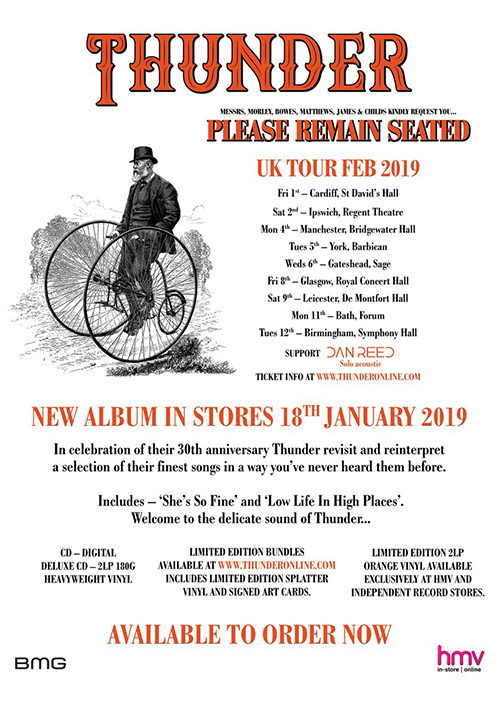 Thunder 2019 Tour - Please Remain Seated - Dan Reed Solo in Support